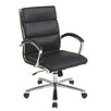 Office Star Products Mid-Back Leather Executive Office Chair Padded Arms and Base