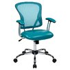 "Office Star Products Ave Six 17.5"" Mesh Peyton Task Chair with Faux Leather Seat"