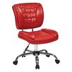 Office Star Products Faux Leather Armless Task Chair with Chrome Accents