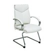 Office Star Products Deluxe Leather Visitors Chair with Chrome Base