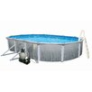 "<strong>Swim Time</strong> Round 52"" Deep 7"" Top Rail Martinique Metal Wall Swimming Pool Package"