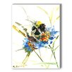 Americanflat Flower Bee Painting Print on Canvas