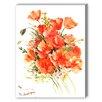 Americanflat Orange Flowers Painting Print on Canvas