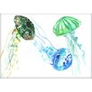 Americanflat Jelly Fishs by Suren Nersisyan Painting Print
