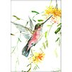 Americanflat Hummingbird with Flowers by Suren Nersisyan Painting Print in Yellow