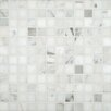 "Calacatta Gold 1"" x 1"" Polished Marble Mesh Mounted Mosaic Tile in White"