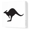 Avalisa Silhouettes Kangaroo Stretched Canvas Art