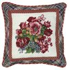 123 Creations Pansy 100% Wool Needlepoint Pillow with Fabric Trimmed