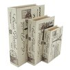 <strong>Aspire</strong> 3 Piece Paris Faux Book Box Set