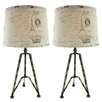 "Aspire Maddox Tripod 28"" H Table Lamp with Empire Shade (Set of 2)"