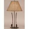 "Coast Lamp Mfg. Rustic Living Iron 2-Fishing Pole Table 28.5"" H Table Lamp with Empire Shade"