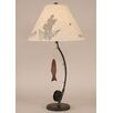 "Coast Lamp Mfg. Rustic Living Iron Fly Fishing Pole 33"" H Table Lamp with Empire Shade"