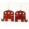<strong>Green Tree Jewelry</strong> Republican Elephant Earrings