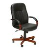Boss Office Products High Back Executive Chair with Hardwood Arms