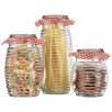 Home Essentials and Beyond 3 Piece Ribbed Bail Jar Set