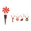 <strong>Glass Christmas Icons Stopper and Wine Charms Set</strong> by October Hill