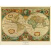 Trademark Global Old World Map Framed Painting Print