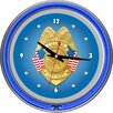 "<strong>Trademark Global</strong> Police Office 14.5"" Double Ring Neon Wall Clock"