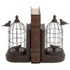 Woodland Imports Metal and Polystone Bird Cage Book Ends (Set of 2)