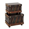 Woodland Imports The Lovely 2 Piece Wood Faux Leather Trunk Set