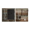Woodland Imports 2 Piece Useful Wood Metal Glass Wall Décor Set