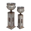 Woodland Imports The Tall 2 Piece Metal Pedestal Urn Set