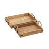 Woodland Imports 2 Piece Classy Wood Tray Set