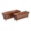 <strong>Woodland Imports</strong> 2 Piece Classy Fancy Rectangle Rail Planter Set
