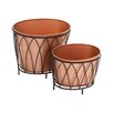 Woodland Imports 2 Piece Exclusive Styled Oval Rail Planter
