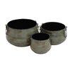Woodland Imports Rustic 3 Piece Round Pot Planter Set