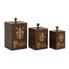 <strong>Woodland Imports</strong> Attractive 3 Piece Paris Wood Metal Box Set