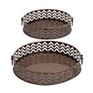 Woodland Imports Stylish and Rusty 2 Piece Round Shaped Tray Set