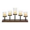 Woodland Imports Amazing Styled Wood Metal Glass Candelabra