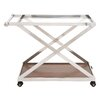 Woodland Imports Cool Stainless Steel Wood Glass Serving Cart