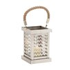 Woodland Imports Elegant Stainless Steel Glass Lantern
