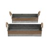 Woodland Imports Antique and Classy 2 Piece Galvanized Tray Set