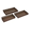 <strong>Woodland Imports</strong> Beautiful Surprisingly 3 Piece Metal Tray Set