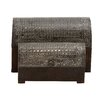 Woodland Imports Stunning 2 Piece Wood Metal Foil Box Set