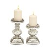 Woodland Imports The Traditional 2 Piece Glass Candlestick Set
