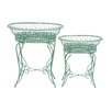 Woodland Imports The Intricate 2 Piece Oval Plant Stand Pedestals