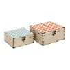 <strong>Woodland Imports</strong> Colorful 2 Piece Square Box Set