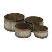 Woodland Imports 4 Piece Round Boxes Planter Set