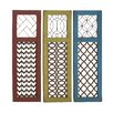 Woodland Imports 3 Piece Fancy Wood Metal Panel Wall Décor Set