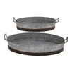 <strong>2 Piece Attractive Tray Planter Set</strong> by Woodland Imports