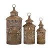 Woodland Imports 3 Piece Metal Lantern Set