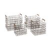Woodland Imports 4 Piece Classy Metal Wood Basket Set