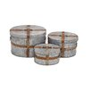 Woodland Imports 3 Piece Fascinating Metal Oval Box Set