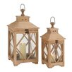Woodland Imports 2 Piece Wood / Glass Lantern Set
