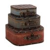 Woodland Imports 3 Piece The Supreme Wood Leather Case Set