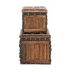 <strong>Stunning 2 Piece Wood Leather Trunk Set</strong> by Woodland Imports